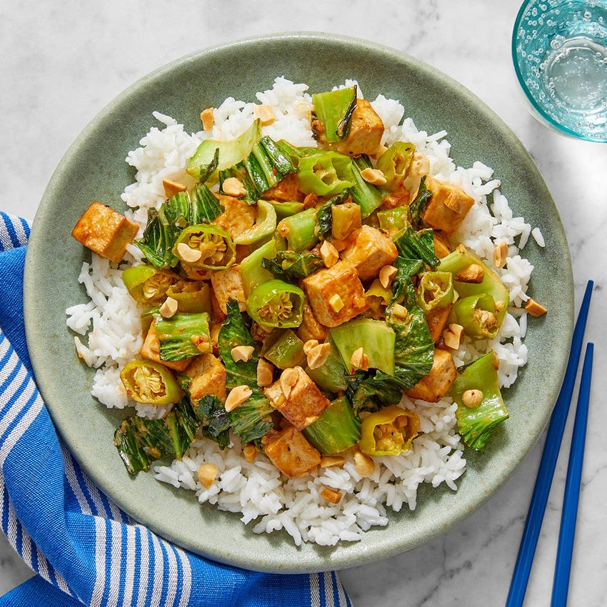 Stir-Fried Tofu & Vegetables with Spicy Sesame-Peanut Sauce