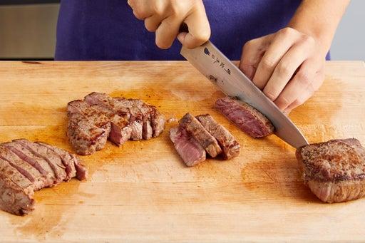 Slice the steak & serve your dish
