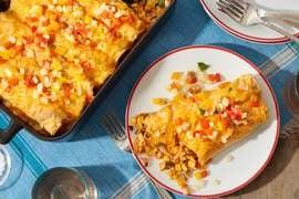 Corn & Cheddar Enchiladas with Sweet Pepper Salsa
