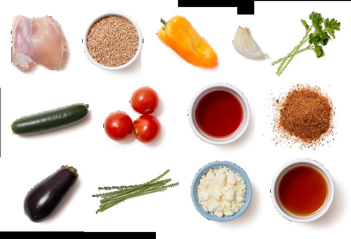 Honey-Pepper Chicken & Farro with Tomato, Cucumber, & Feta Salad