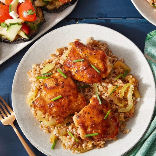 Honey-Pepper Chicken & Farro with Tomato, Cucumber, & Feta Salad