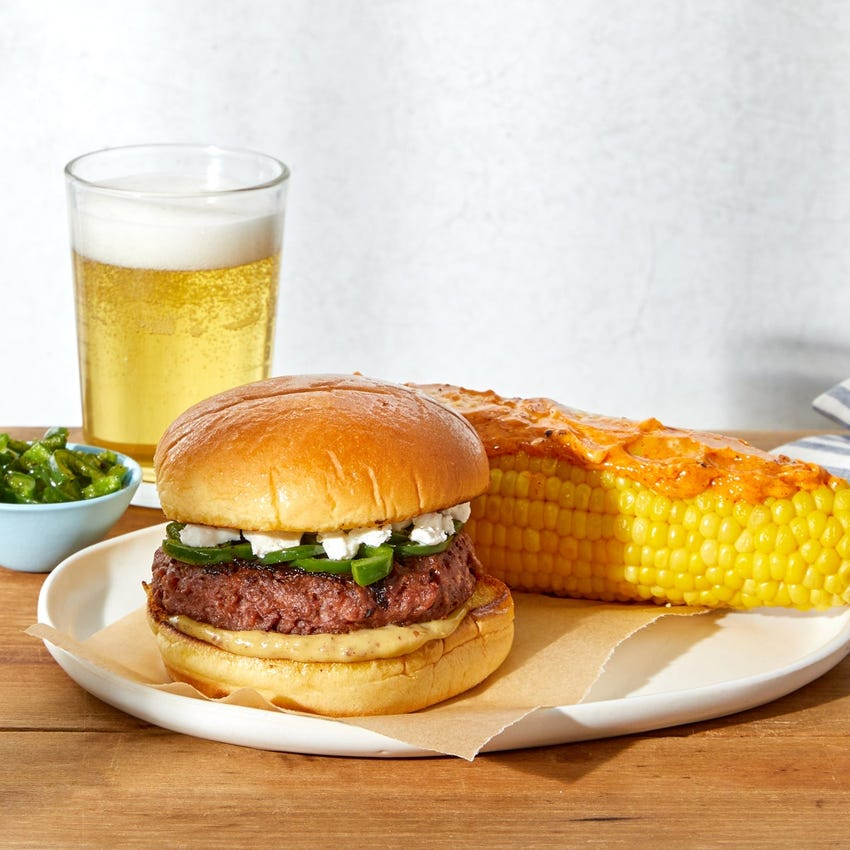 Jalapeño & Goat Cheese Beyond Burger™ with Corn on the Cob