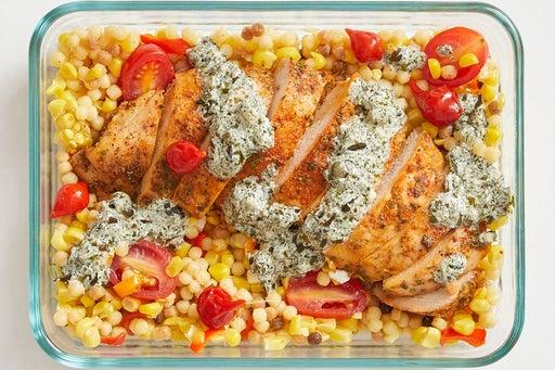 Finish and Serve the Roast Chicken & Creamy Salsa Verde