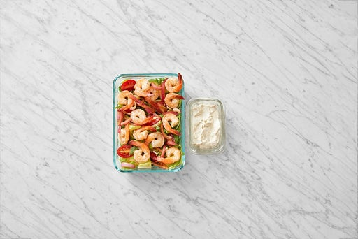 Assemble & store the Seared Shrimp Salad