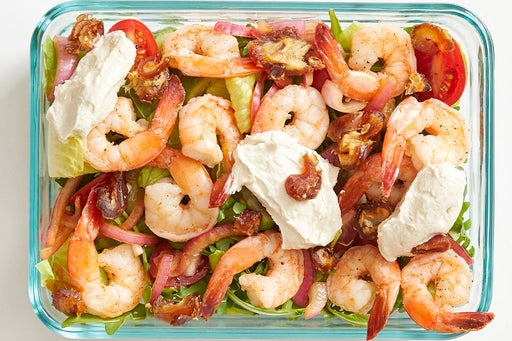 Finish & serve the Seared Shrimp Salad