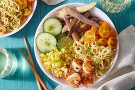 Chilled Shrimp Ramen with Miso Eggplant & Corn