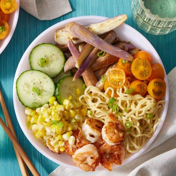 Chilled Shrimp Ramen with Miso Eggplants & Corn
