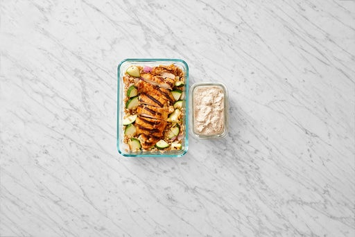 Assemble & Store the Smoky Chicken Thighs & Farro