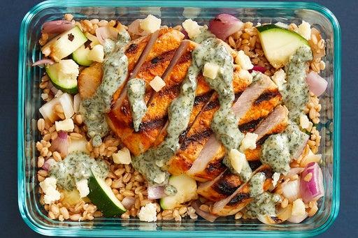 Finish & Serve the Grilled Pork Chops & Creamy Salsa Verde
