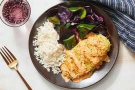 Crispy Curry Chicken & Roasted Vegetables with Coconut Rice & Creamy Tomato Chutney