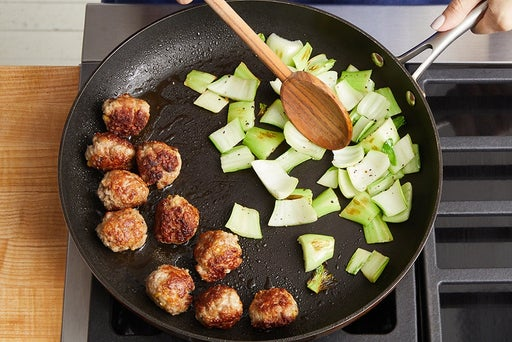 Cook the meatballs & bok choy