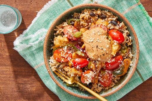 Chicken & Poblano Burrito Bowls with Marinated Tomatoes & Ancho Sour Cream
