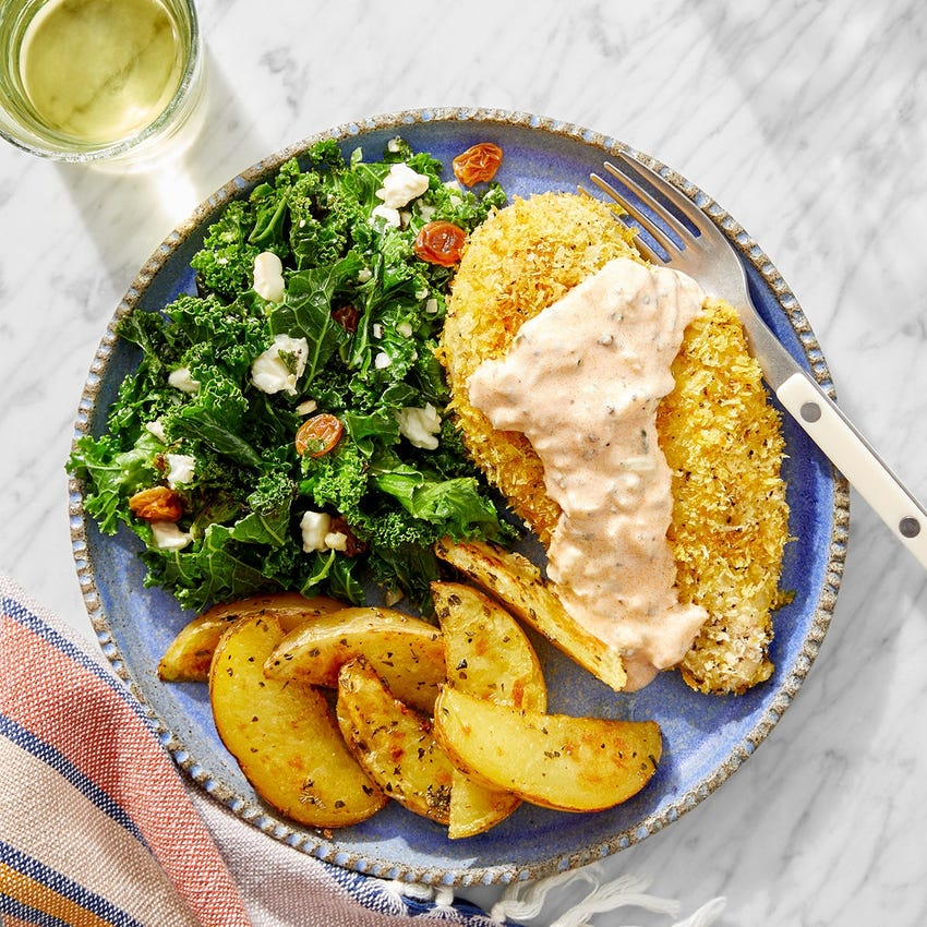 Crispy Shawarma-Spiced Chicken with Feta, Kale & Oregano Potatoes