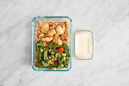 Assemble & store the Seared Chicken & Tahini Yogurt