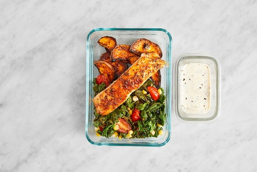Assemble & store the Roasted Salmon & Vegetables