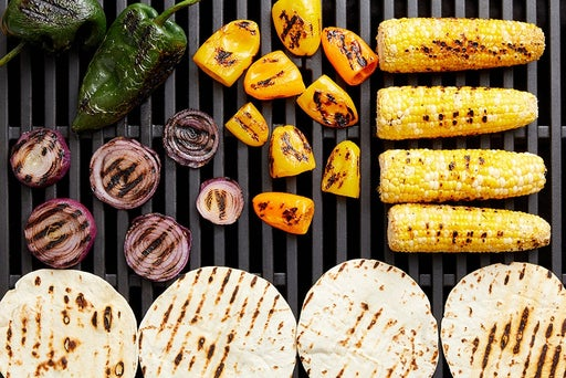 Grill the tortillas & remaining vegetables