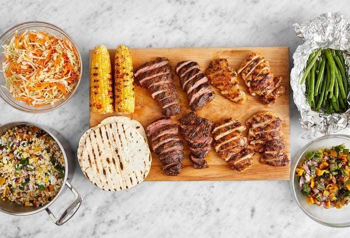 Grill with Chicken Thighs & Steak