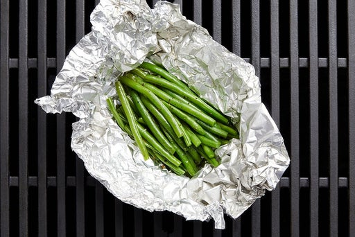 Assemble the foil packet & grill the green beans
