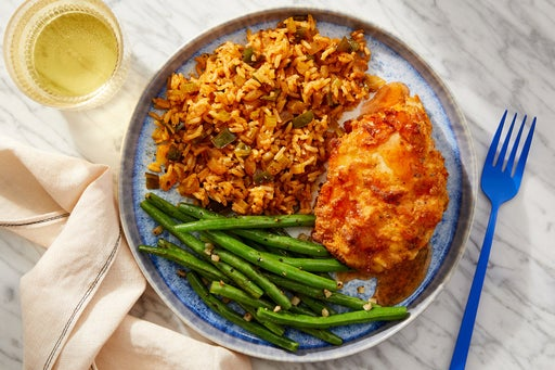 Hot Honey Crispy Chicken with Dirty Rice & Garlicky Green Beans