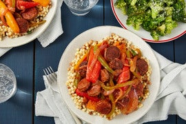 Italian Sausages & Peppers with Fregola Sarda Pasta & Garlic-Parmesan Broccoli