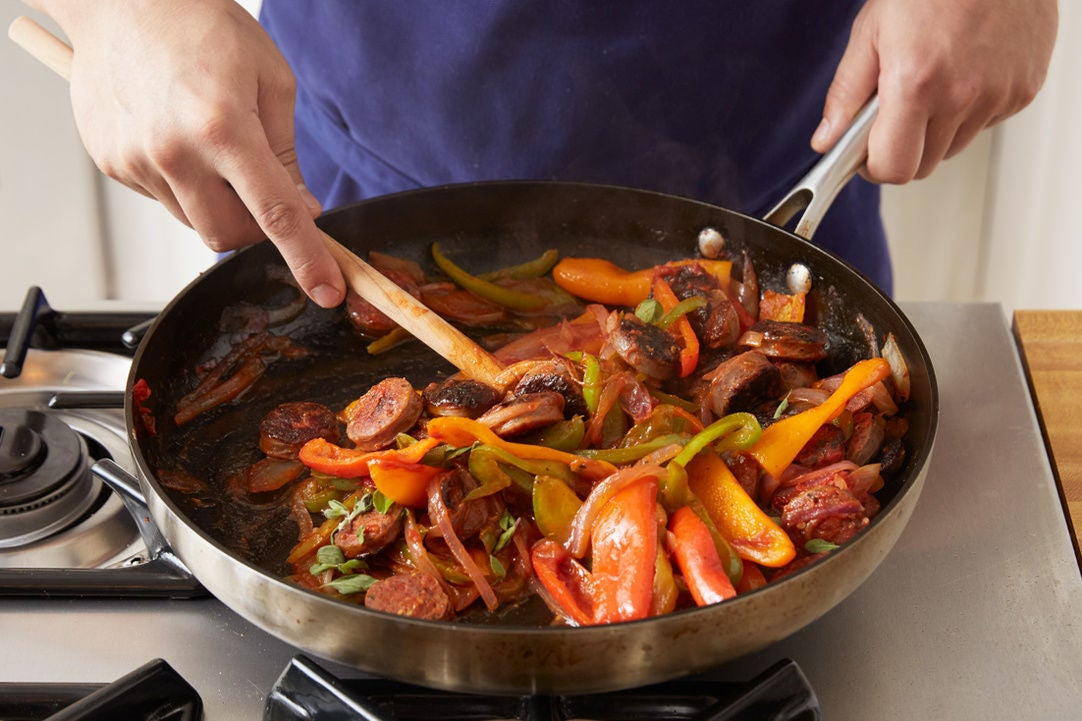Cook the sausages & vegetables:
