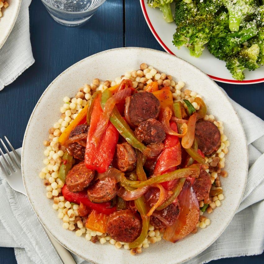Italian Sausages & Peppers with Fregola Sarda Pasta & Garlic-Parmesan Broccoli