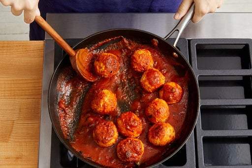 Make the sauce & finish the meatballs
