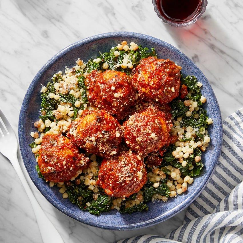 Turkey Meatballs & Fregola Sarda with Kale & Sicilian Tomato Sauce