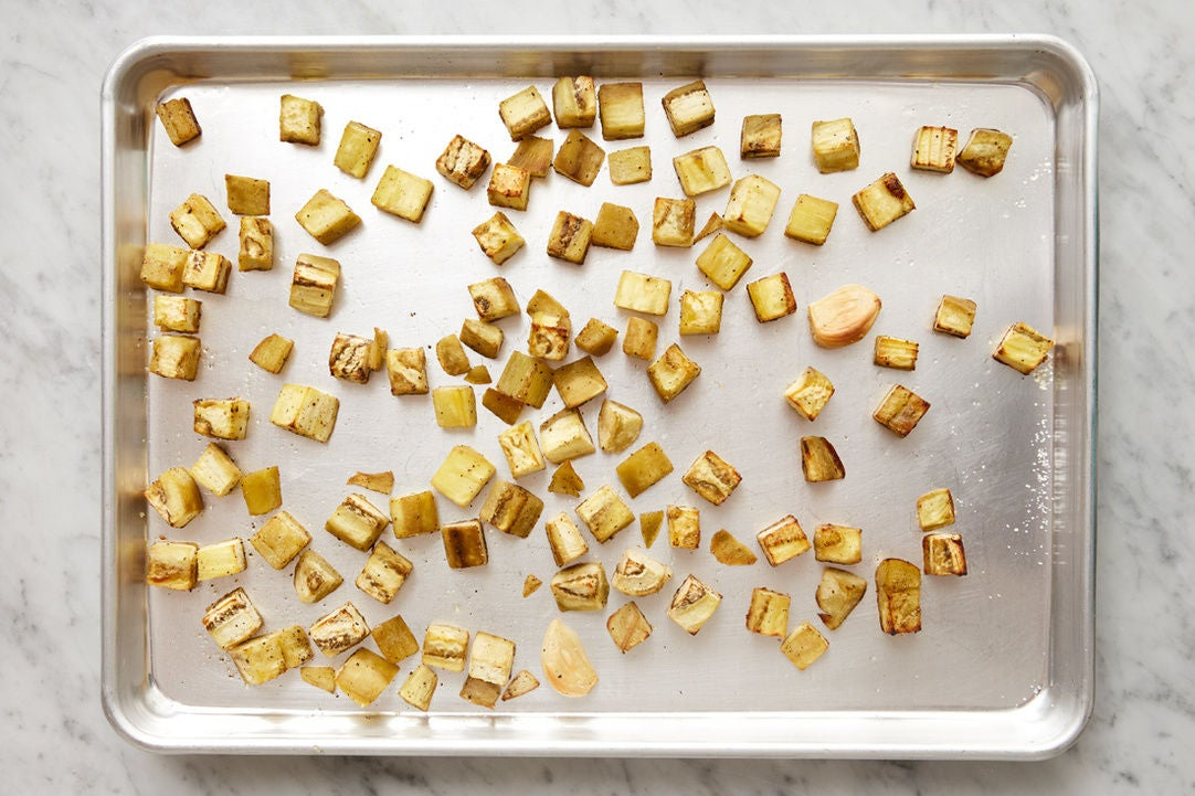 Roast & mash the eggplant: