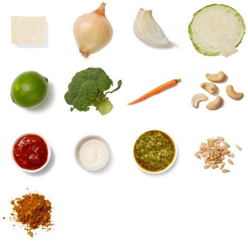 Vadouvan & Cashew-Crusted Tofu with Chutney-Braised Vegetables & Cilantro Sauce
