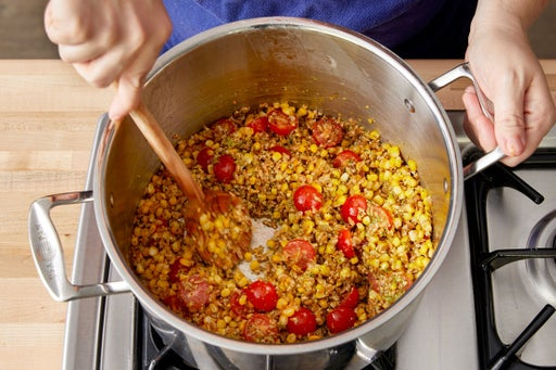 Cook the corn & finish the farro