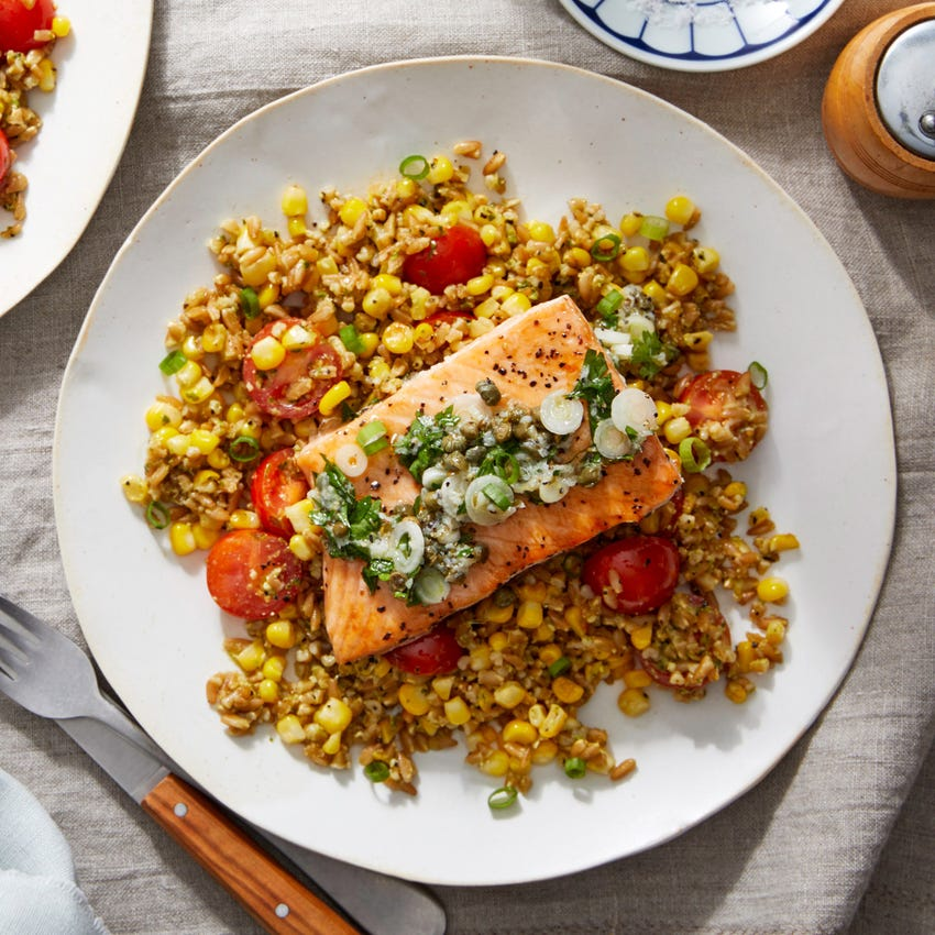 Salmon & Salsa Verde with Farro, Sweet Corn & Basil Pesto
