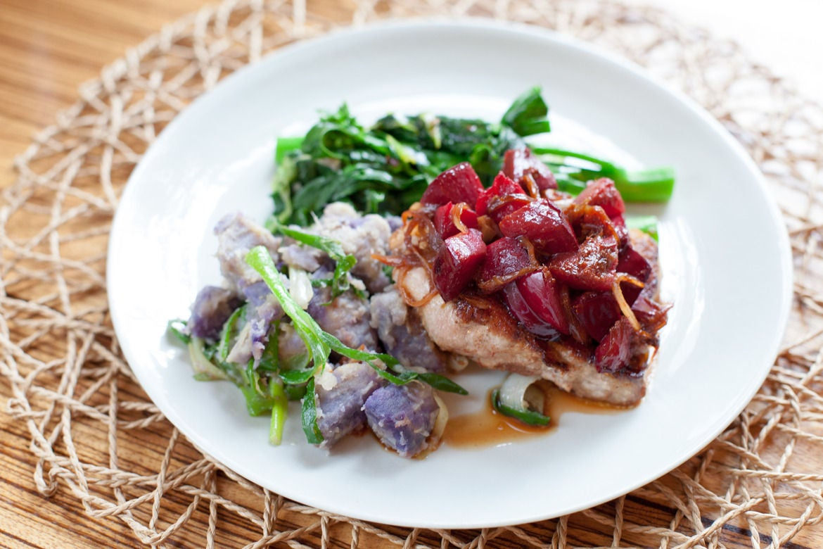 Five-Spice Pork Chops with Plum Sauce, Chinese Broccoli & Purple Sweet ...