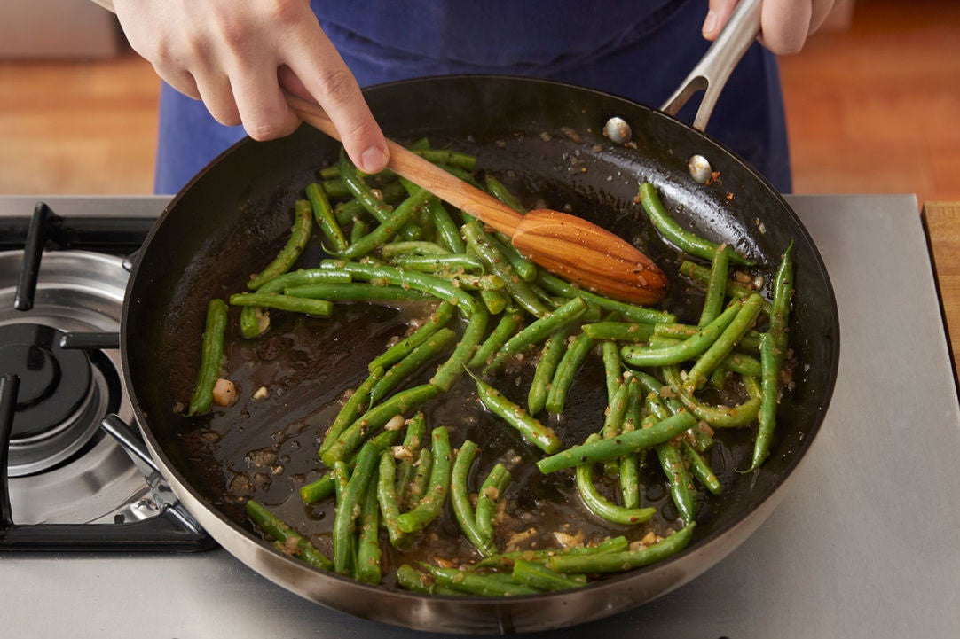 Finish the green beans: