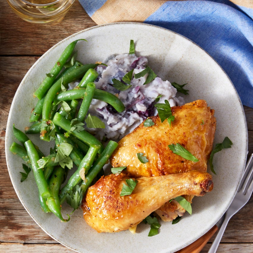 Roasted Chicken with Mashed Purple Potatoes & Green Beans