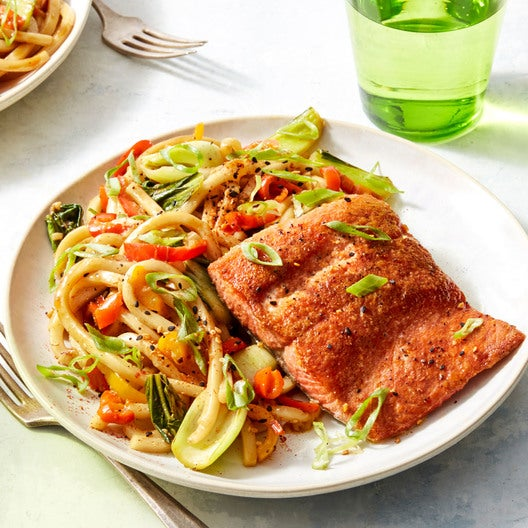 Salmon & Udon Noodle Stir-Fry with Sweet Peppers & Bok Choy