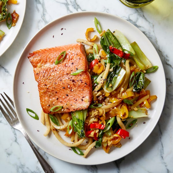 Salmon & Udon Noodle Stir-Fry with Sweet Peppers, Bok Choy, & Furikake