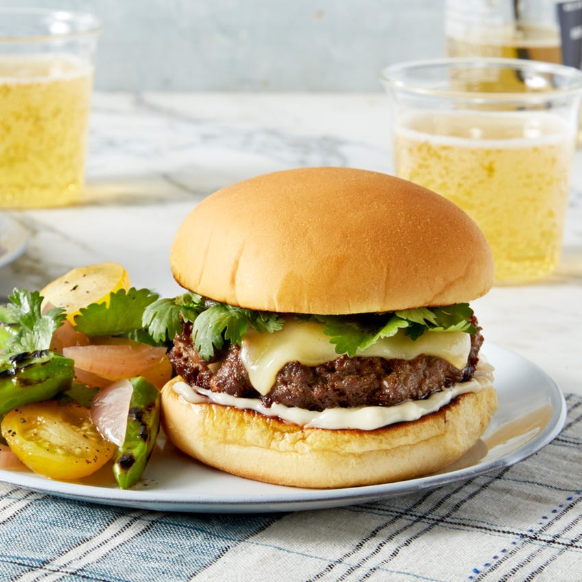 Fontina Cheeseburgers with Cilantro & Tomato Salad