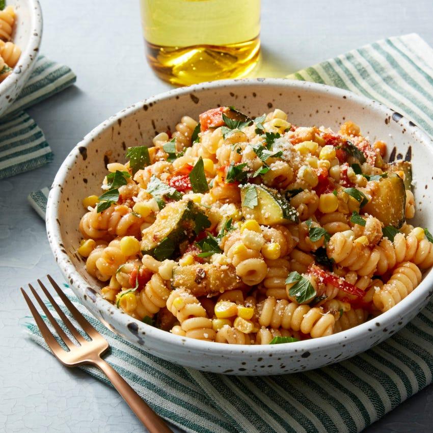 Fusilli Bucati Pasta with Summer Squash, Corn, & Tomatoes