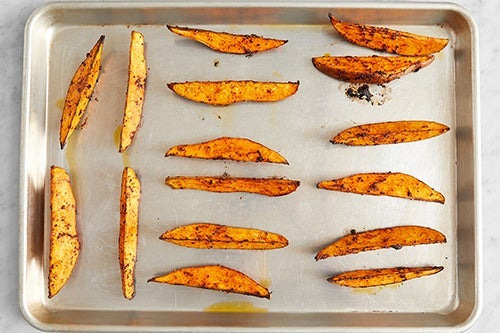 Prepare & roast the sweet potatoes