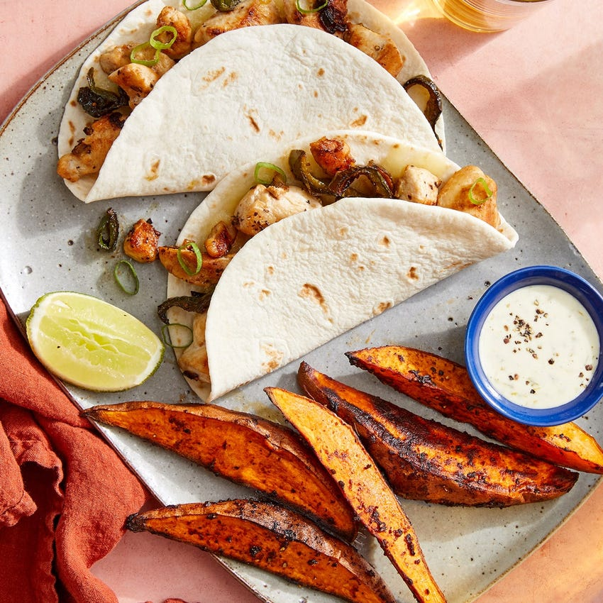Cheesy Chicken Tacos with Chipotle-Roasted Sweet Potatoes