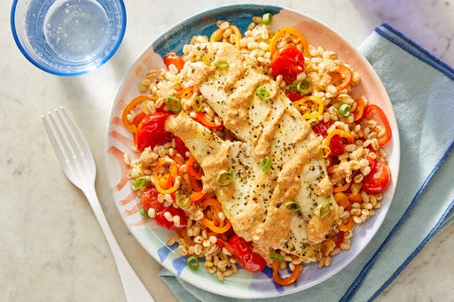 Tilapia & Creamy Romesco Sauce with Barley, Tomatoes & Sweet Peppers