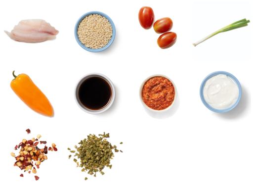 Tilapia & Creamy Romesco Sauce with Barley, Tomatoes & Sweet Peppers