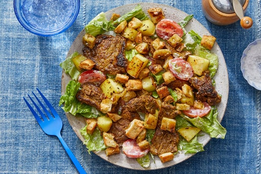 Middle Eastern Beef Salad with Chayote Squash & Za'atar Pita Croutons