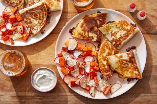 Cheesy Chipotle Black Bean Quesadillas with Caramelized Shallot