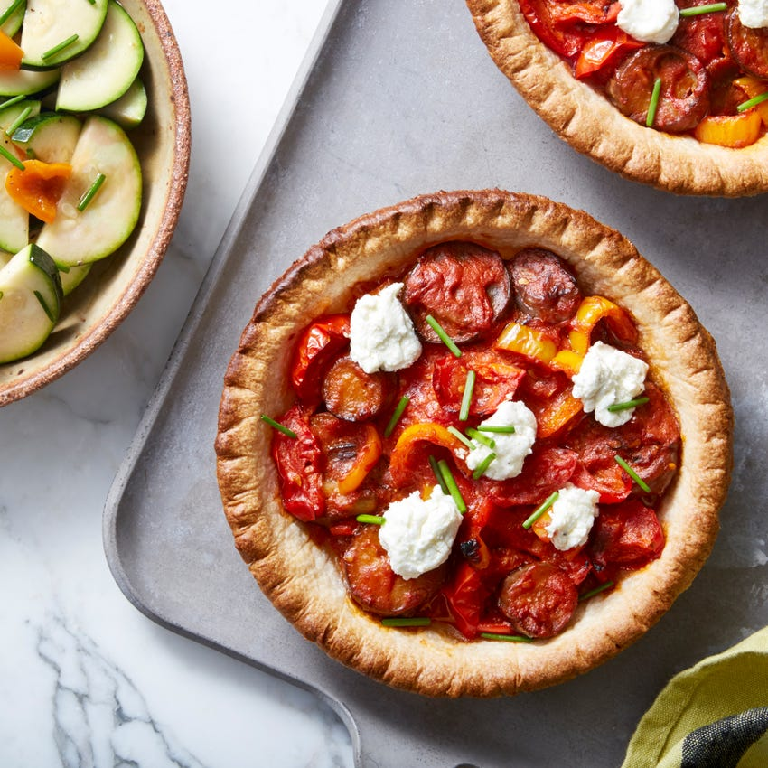 Ratatouille Tarts with Marinated Summer Squash