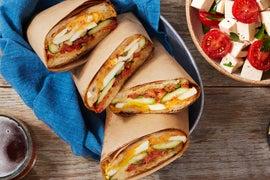Summer Vegetable & Egg Paninis with Chile Mayonnaise & Tomato-Mozzarella Salad