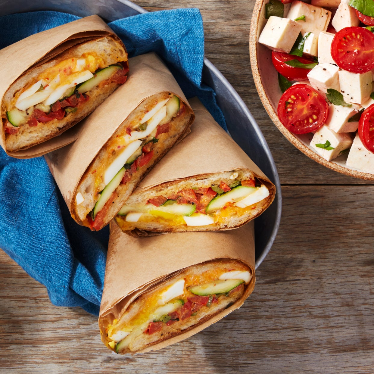 Summer Vegetable & Egg Paninis with Chile Mayonnaise & Tomato-Mozzarella Salad