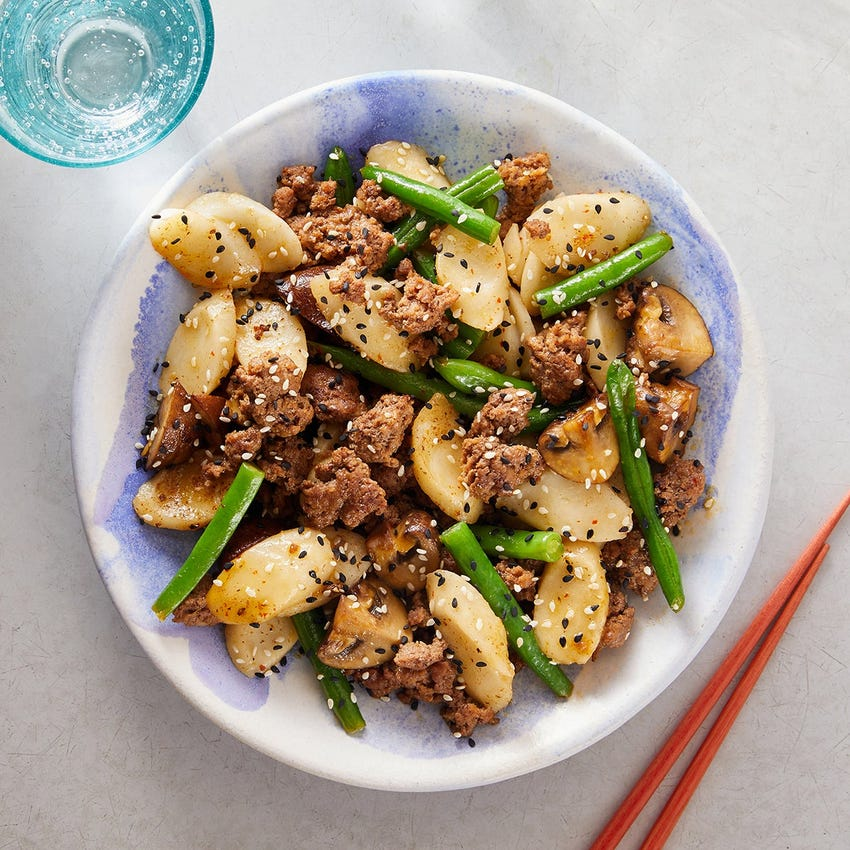 Curried Beef & Rice Cakes with Mushrooms & Green Beans