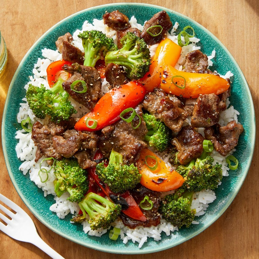 Spicy Beef & Broccoli with Sweet Peppers & Rice